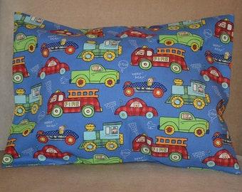 Travel Pillow Case / Child Pillow Case Various TRANSPORTATION VEHICLES / Cars / Firetruck / Train / Pick up Trucks