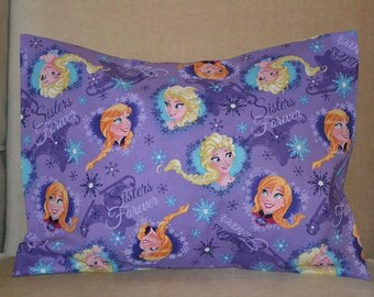 Travel Pillow Case / Child Pillow Case DISNEY FROZEN SISTERS! / Anna / Elsa / Olaf / Sisters Forever