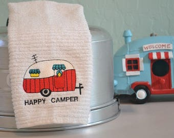 Embroidered Bar Mop Towel /Embroidered Kitchen Towel / TRAILER / CAMPER / AIRSTREAM / Happy Camper / Gone Camping