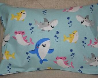 Shark Childrens or Travel  Pillow Case