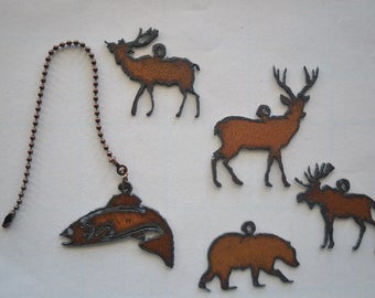 rustic ceiling lights. rustic rusted recycled metal outdoor animals / fish trout bear deer buck moose elk ceiling fan pull light ceiling lights