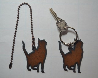 Cat fan pull etsy rustic rusty rusted recycled metal charm silhouette cat kitten ceiling fan pull light pull or key chain personalized keychain aloadofball Choice Image