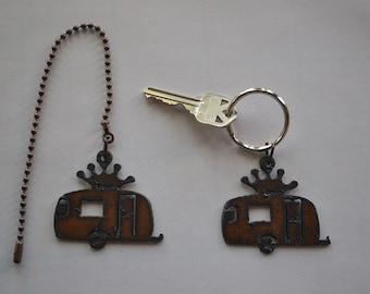 Rustic Rusty Rusted Metal Charm Airstream GLAMPER CAMPER Trailer w Crown  Ceiling Fan Pull   Light Pull or Key Chain   Personalized Keychain b952067ac3