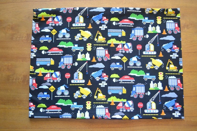Travel Pillow Case  Child Pillow Case CONSTRUCTION EQUIPMENT  TONKA  Trucks   Tractors  Bulldozers  Front End Loaders