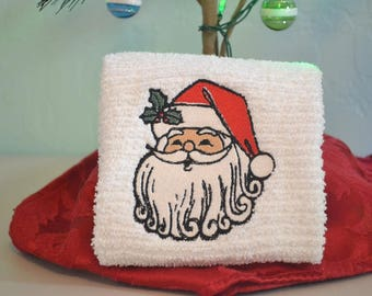 Embroidered Bar Mop Towel / Kitchen Towel / Santa / Santa Claus / Christmas Towels / Santa Claus Towel / Christmas Kitchen Towel