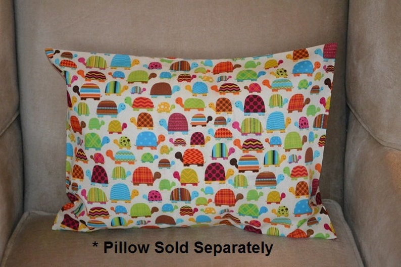 Travel Pillow Case  Child Pillow Case COLORFUL TURTLES of all Shapes and Sizes!