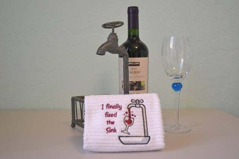 Embroidered Bar Mop Towel Kitchen Towel Wine I Finally Etsy
