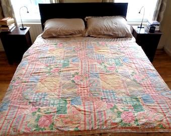 vintage bedspreadquilteiderdown matching single bed duvet cover 1990s country cottage patchwork effect flower pattern bedding bed x - Vintage Bedding