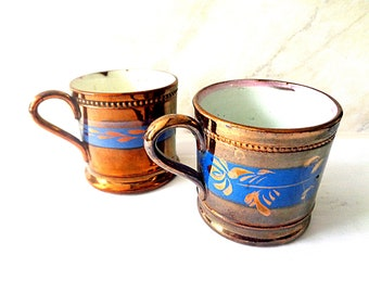 06df0ce70ca Antique Copper lustre cups from the 1800s