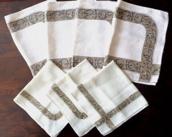 Set Celtic place mats & napkins vintage Irish Leasurelyn Linen blend Celtic Knot cloth table dining room dinner party settings from Ireland