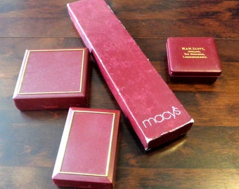 Vintage gift boxes, 4 jeweller's boxes, maroon containers, red gift boxes, Macy's jewelry box, Irish jeweller, gift giving vintage packaging