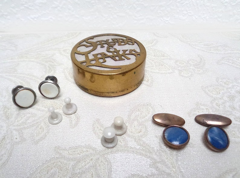 Antique box brass cufflink case for tuxedo studs and cufflinks including 4 sets of vintage mens links and studs