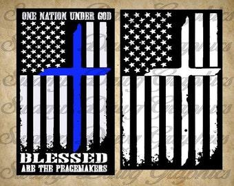 Police svg, blue lives matter svg, blue lives matter, silhouette, cricut, cut file, decal, vinyl, cross, american flag svg, police flag svg
