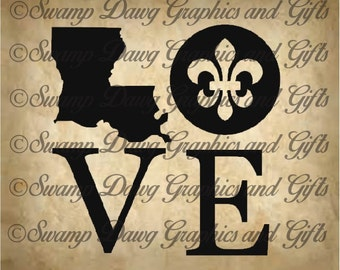 Louisiana Love cut file, svg, silhouette, cricut, vinyl, fleur de lis, digital file, vinyl, decal, home decor, louisiana, french, cajun
