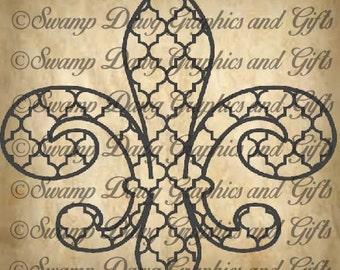 Quatrefoil Fleur De Lis svg , cut file,digital file, silhouette, cricut, vinyl, decal, htv,  home decor, louisiana, french, cajun