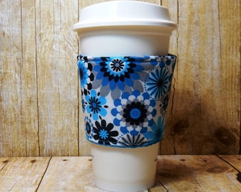 Fabric Coffee Cozy / Blue and Gray Floral Coffee Cozy / Flower Coffee Cozy / Coffee Cozy / Tea Cozy
