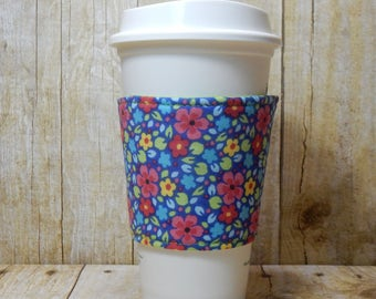 Fabric Coffee Cozy / Sweet Floral Coffee Cozy / Flower Coffee Cozy / Coffee Cozy / Tea Cozy