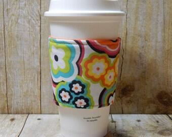 Fabric Coffee Cozy / Groovy! Coffee Cozy / Retro Coffee Cozy / Flower Coffee Cozy / Floral Coffee Cozy / Coffee Cozy / Tea Cozy