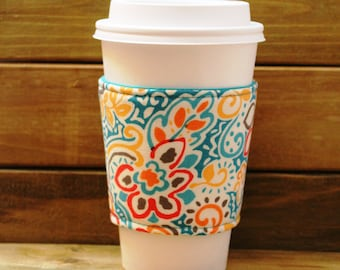 Fabric Coffee Cozy / Bright Floral on Blue Coffee Cozy / Flower Coffee Cozy / Coffee Cozy / Tea Cozy