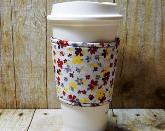 Fabric Coffee Cozy / Little Flowers on White Coffee Cozy / Flower Coffee Cozy / Coffee Cozy / Tea Cozy
