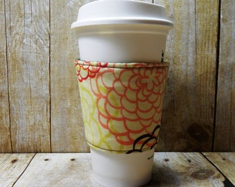 Fabric Coffee Cozy / Big Floral Coffee Cozy / Flower Coffee Cozy / Coffee Cozy / Tea Cozy