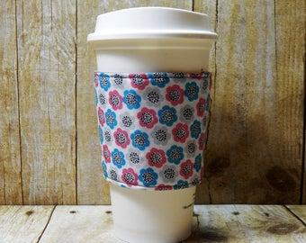 Fabric Coffee Cozy / Pink, Blue, Gray Flowers Coffee Cozy / Floral Coffee Cozy / Flower Coffee Cozy / Coffee Cozy / Tea Cozy