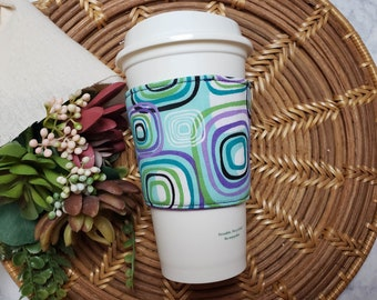 CLEARANCE Fabric Coffee Cozy / Circles and Squares Coffee Cozy / Square Coffee Cozy / Circle Coffee Cozy / Coffee Cozy / Tea Cozy