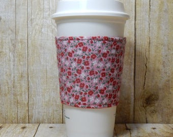 Fabric Coffee Cozy / Red and White Flowers on Pink Coffee Cozy / Flower Coffee Cozy / Coffee Cozy / Tea Cozy