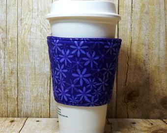 CLEARANCE Fabric Coffee Cozy / Purple Flowers Coffee Cozy / Purple Coffee Cozy / Flower Coffee Cozy / Coffee Cozy / Tea Cozy