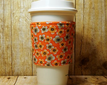 Fabric Coffee Cozy / Flowers on Orange Coffee Cozy / Orange Coffee Cozy / Flower Coffee Cozy / Coffee Cozy / Tea Cozy