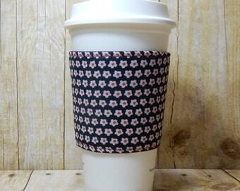 Fabric Coffee Cozy / Little Flowers Coffee Cozy / Flower Coffee Cozy / Coffee Cozy / Tea Cozy