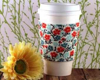 Fabric Coffee Cozy / Wispy Flowers Coffee Cozy / Flower Coffee Cozy / Coffee Cozy / Tea Cozy