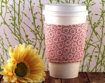 Fabric Coffee Cozy / Pretty in Pink Coffee Cozy / Pink Coffe Cozy / Flower Coffee Cozy / Coffee Cozy / Tea Cozy