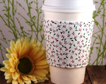 CLEARANCE / Fabric Coffee Cozy / Small Country Flowers Coffee Cozy / Flower Coffee Cozy / Coffee Cozy / Tea Cozy
