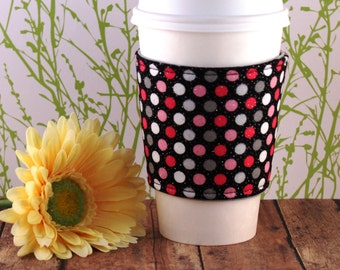 Fabric Coffee Cozy / Pink, Gray, White Sparkle Polka Dots Coffee Cozy / Polka Dot Coffee Cozy / Coffee Cozy / Tea Cozy