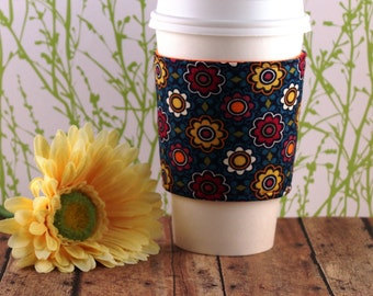 Fabric Coffee Cozy / Rich Colored Flowers Coffee Cozy / Flower Coffee Cozy / Coffee Cozy / Tea Cozy