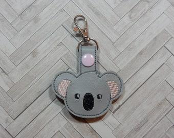 Koala Keychain / Bag Tag / Bag Accessory / Keychain / Snap Tab Key Fob / Snap Tab Keychain / Vinyl Keychain / Embroidery