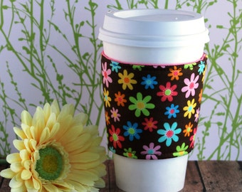 Fabric Coffee Cozy / Little Bright Flowers Coffee Cozy / Flower Coffee Cozy / Coffee Cozy / Tea Cozy