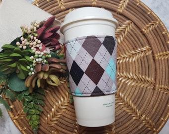 CLEARANCE Fabric Coffee Cozy / Argyle Coffee Cozy / Coffee Cozy / Tea Cozy