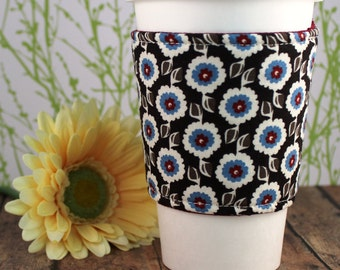 Fabric Coffee Cozy / Blue and Cream Flowers on Brown Coffee Cozy / Flower Coffee Cozy / Coffee Cozy / Tea Cozy