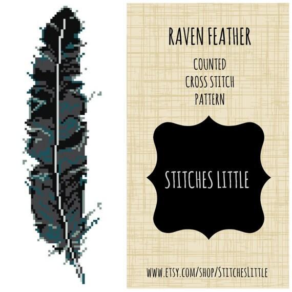 Cross Stitch Pattern Raven Modern Embroidery PDF Pattern