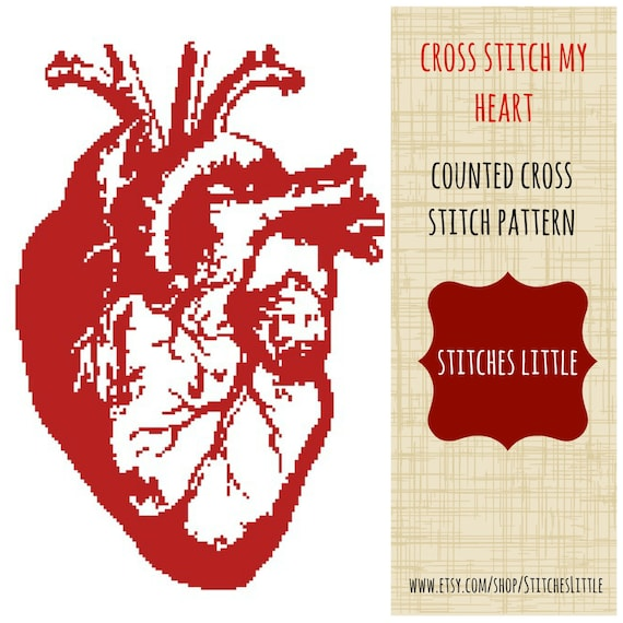 Anatomical Heart Cross Stitch Pattern Modern Cross Stitch Etsy