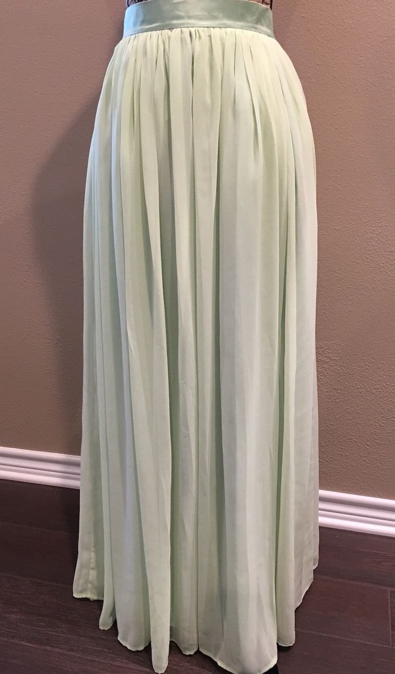 Sage Green Skirt Bridesmaid Dress Chiffon Maxi Skirt Long image 0