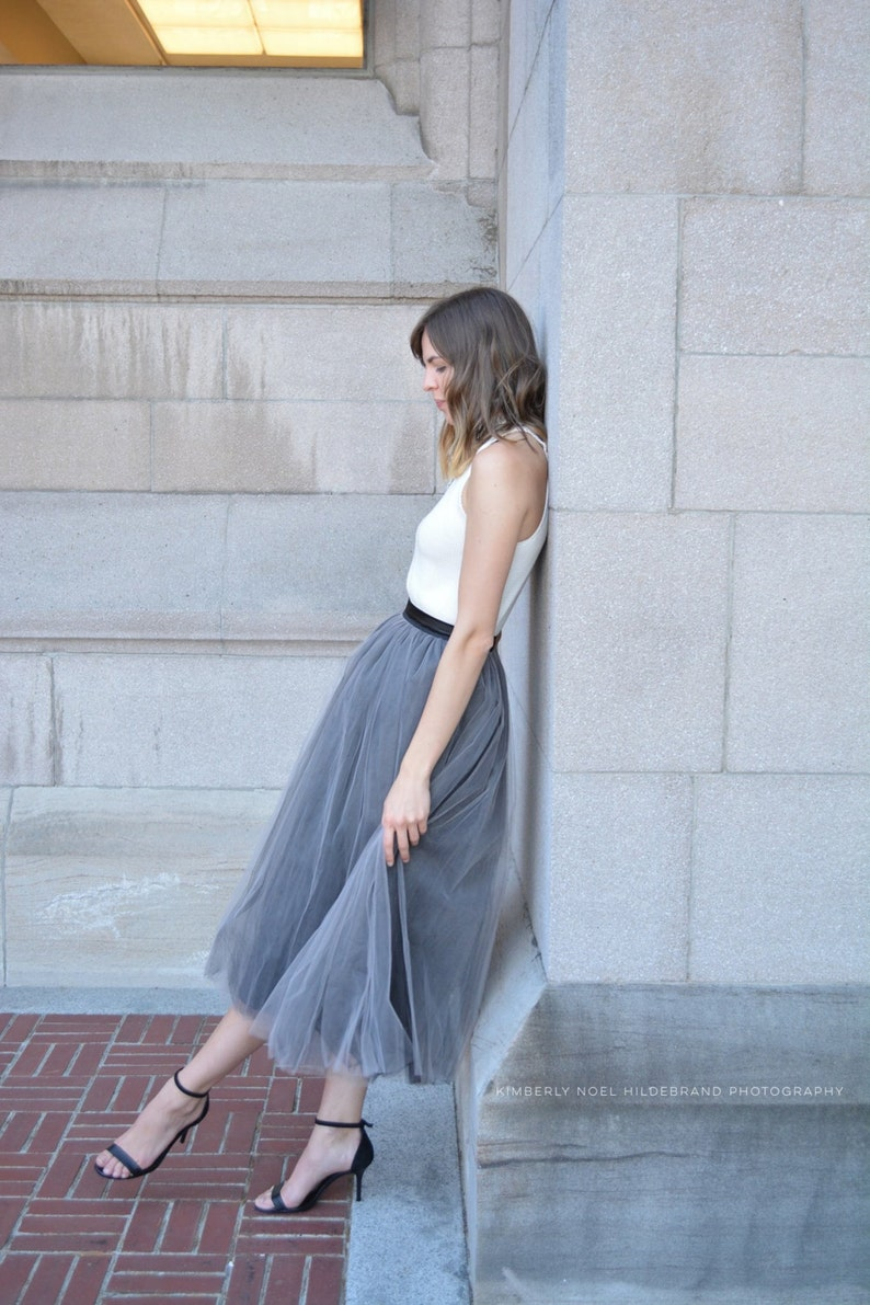Gray Tulle Skirt Women Tulle Skirt Bridesmaid Dress Custom image 0