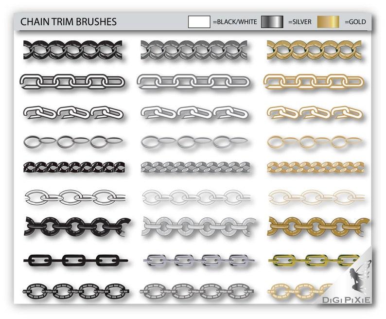 Chain Trim Sketches 18 Vector Illustrator Templates