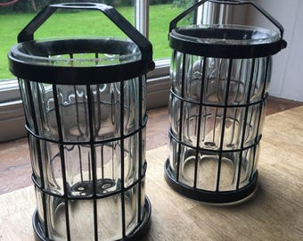 Pair of Clear glass vintage cage lanterns in an arts and crafts style handmade