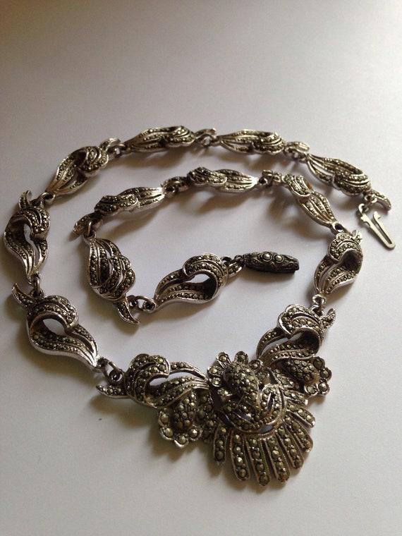 Vintage 1950s Markasite bridal necklace Something
