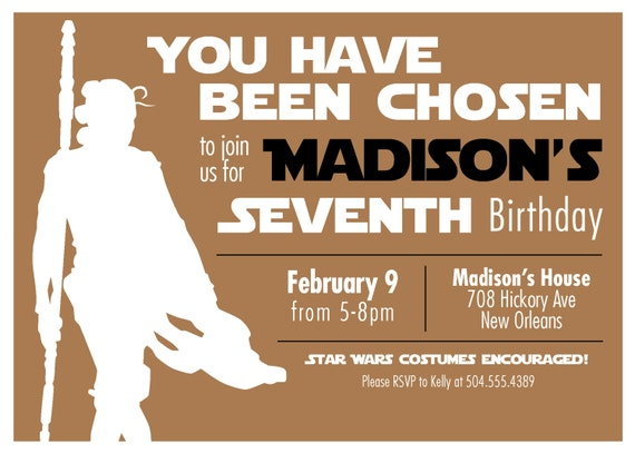 Star Wars Inspired Rey Jedi Girls Birthday Party Invitation