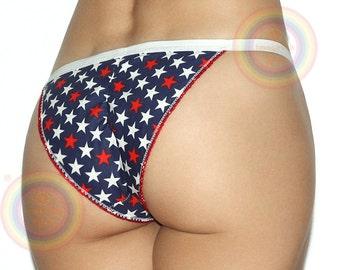 bc19e4a6ab75 American Flag Stars Women's Cotton Low Rise Bikini