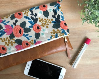 Rifle Paper Co Foldover Zippered Clutch with Removable Crossbody Strap